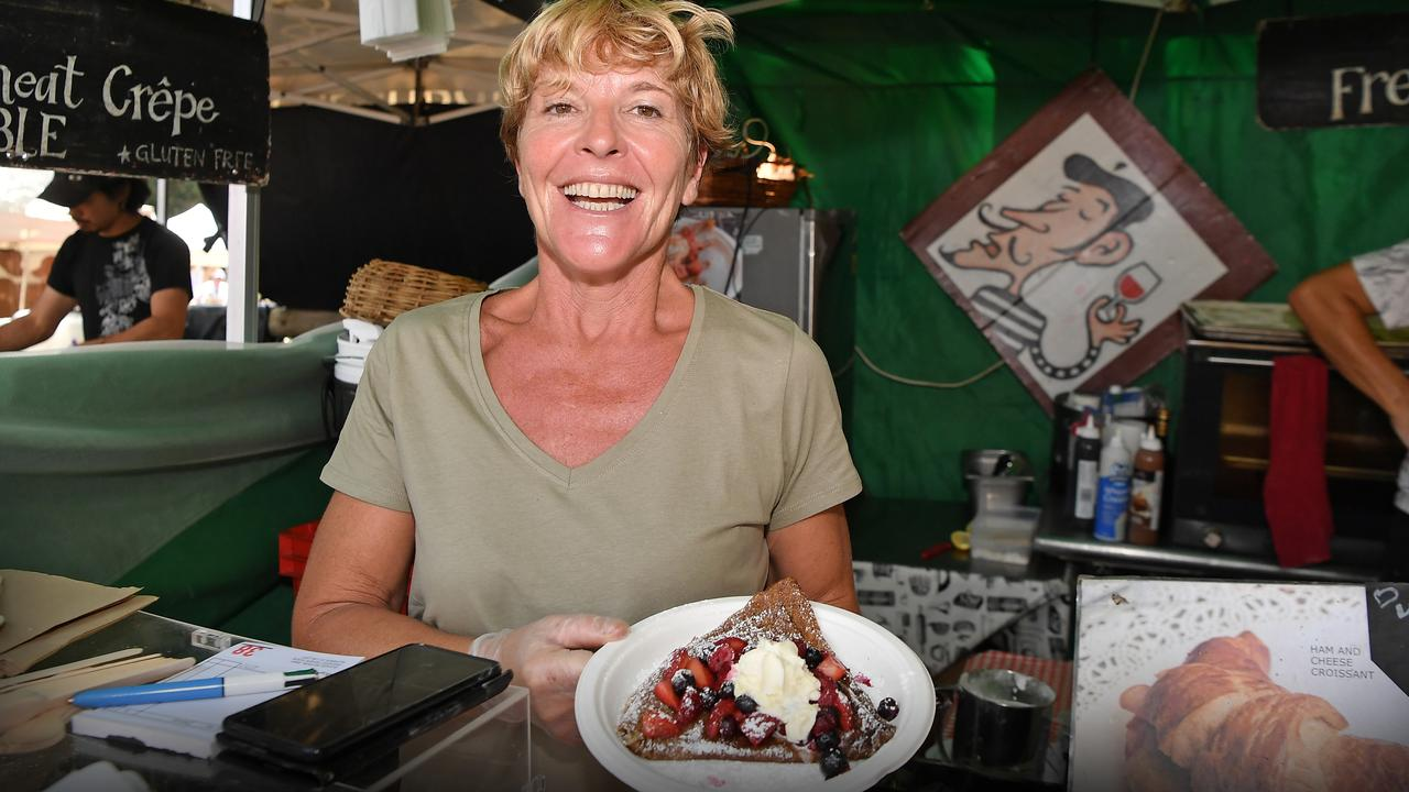 Florence Dablanc makes delicious crepes at The Original Eumundi Markets. Picture: Patrick Woods