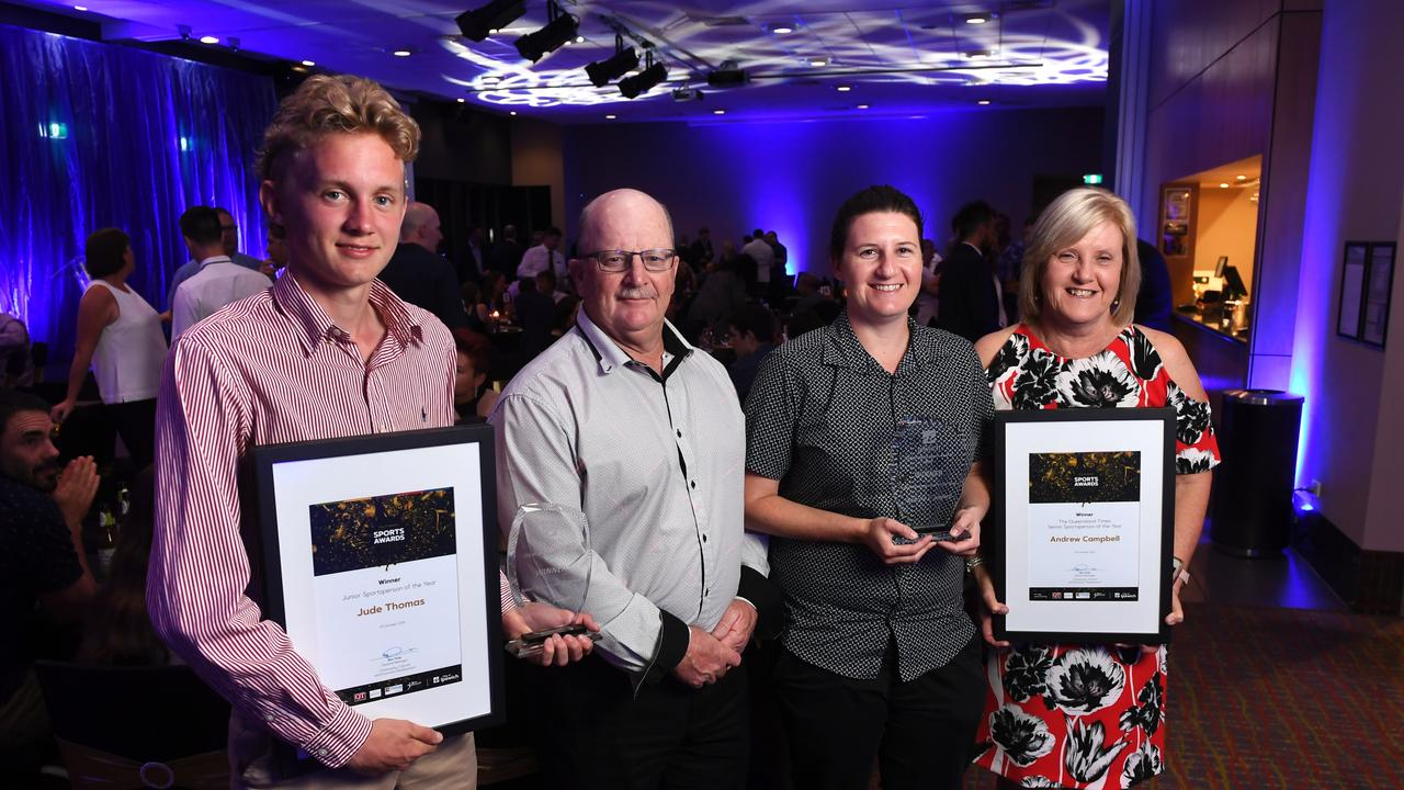 2019 Junior Sportsperson of the Year Jude Thomas with the family of The Queensland Times Senior Sportsperson of the Year Andrew Campbell - his father Jon, sister Lyndsey and mother Denise. The latest City of Ipswich Sports Awards winners will be named on November 6.