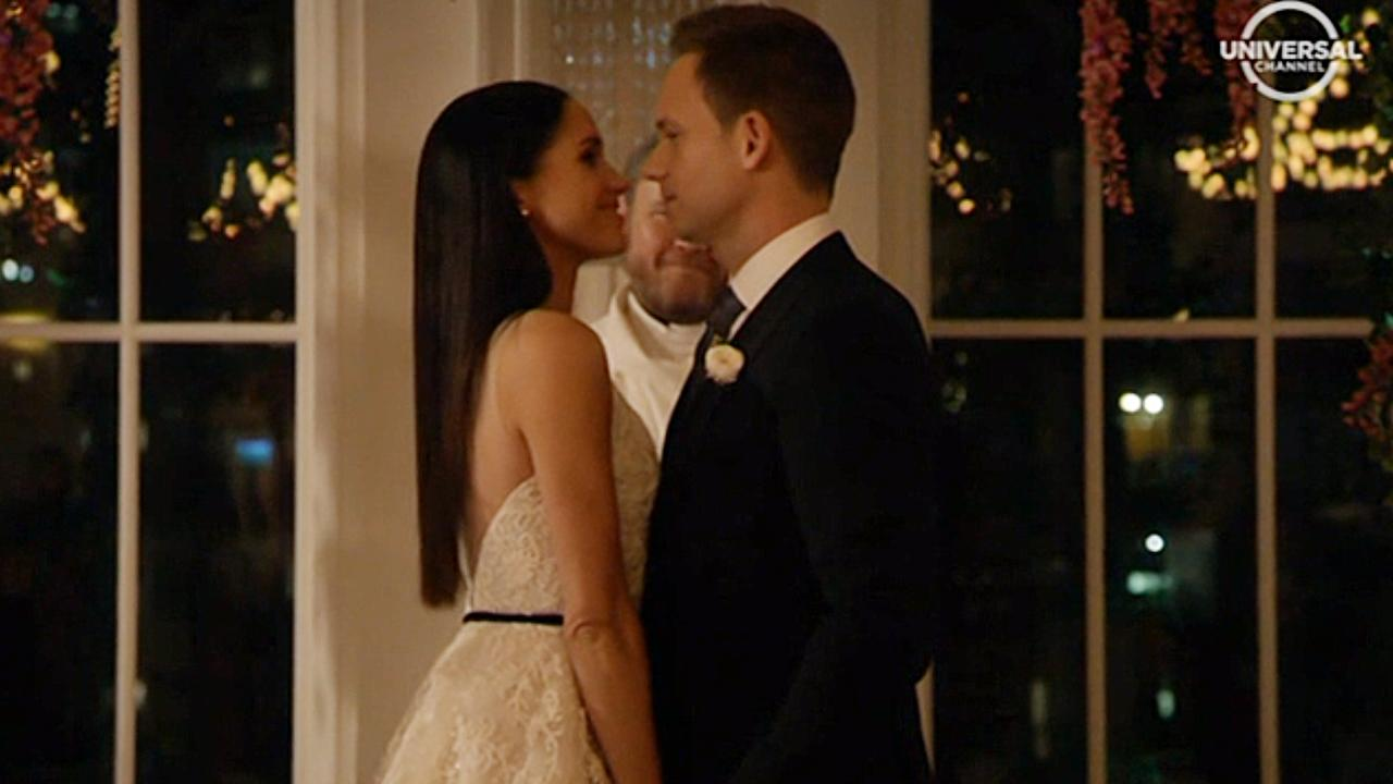 Meghan Markle and Patrick J. Adams' characters were married on Suits in the seventh season, just before Meghan's real life marriage to Prince Harry. Picture: Foxtel