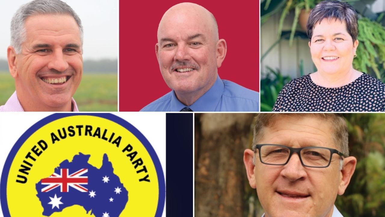 Burdekin candidates: Top: Burdekin MP Dale Last, ALP's Mike Brunker, NQ First's Carolyn Moriarty. Bottom: United Australia Party logo. UAP's candidate is Benjamin Wood, KAP's Sam Cox.