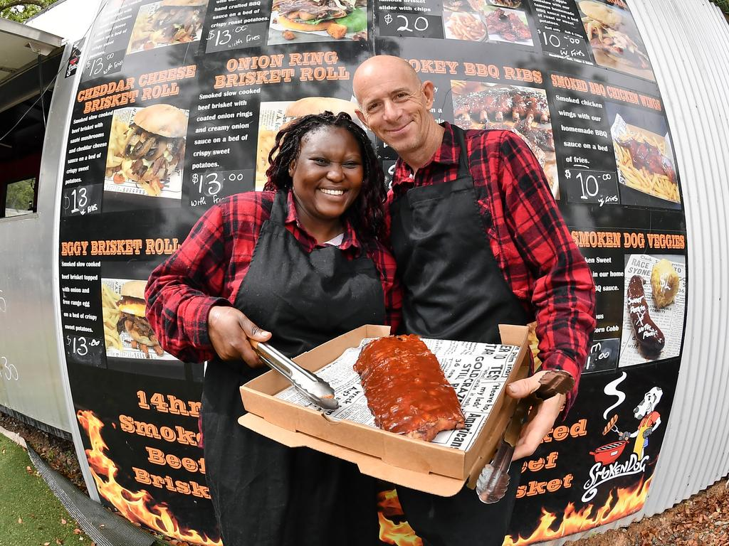 Dineo and Dave Levell of Smoken Dog BBQ have made the move from Yandina to Kings Beach and are loving the new venture. Picture: Patrick Woods / Sunshine Coast Daily.