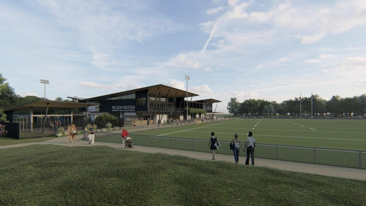 Designs of proposed community health precinct at Noosa Pirates Rugby League Club.