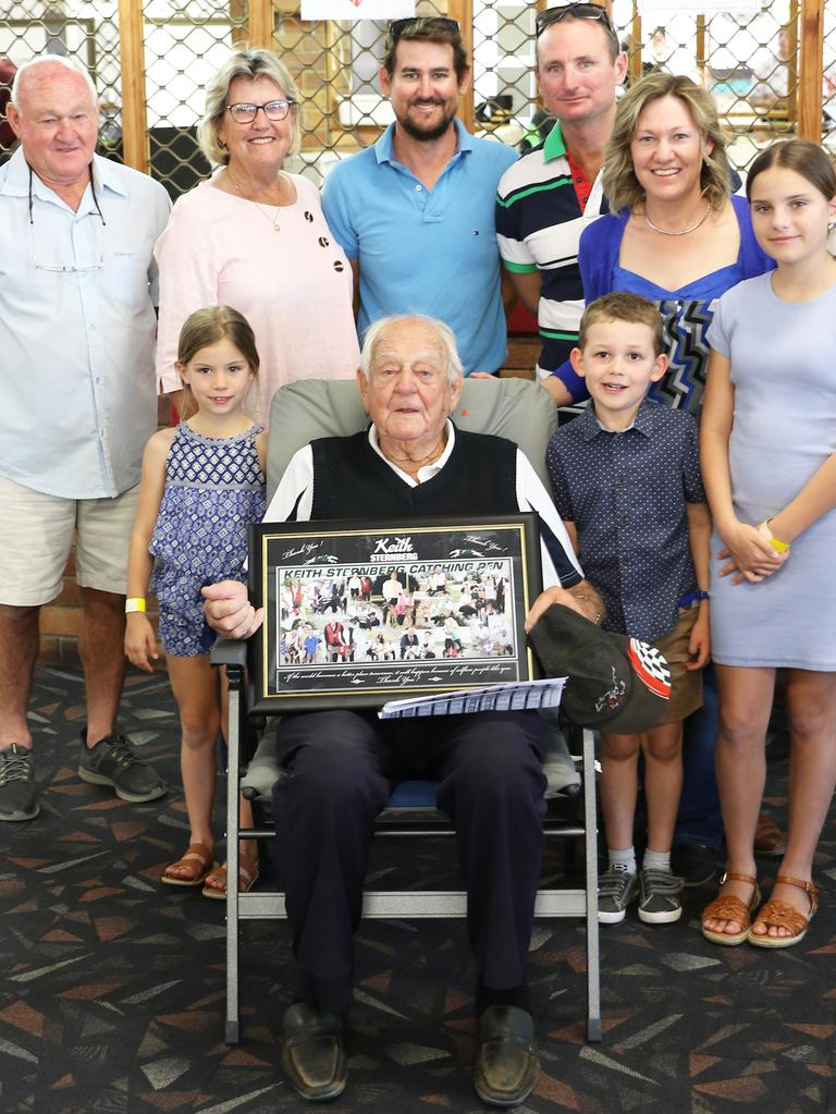 Keith Sternberg with family and friends at his special being honoured at the Ipswich Showrounds. Picture: justgreyhoundphotos.com.au
