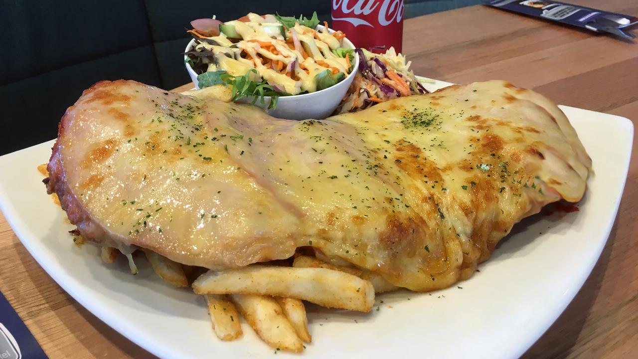 Chicken parmigiana at Tingalpa Hotel, Brisbane. Picture: Supplied
