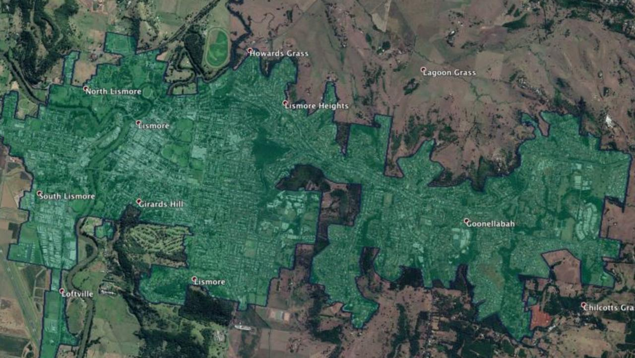 This map released by NBN Co highlights the area where businesses will have access to a faster internet service in the Lismore LGA.