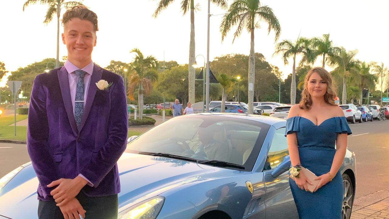 Jacob Bunt and Hannah Stanton arriving at the Hervey Bay Boat Club for the Fraser Coast Anglican College.