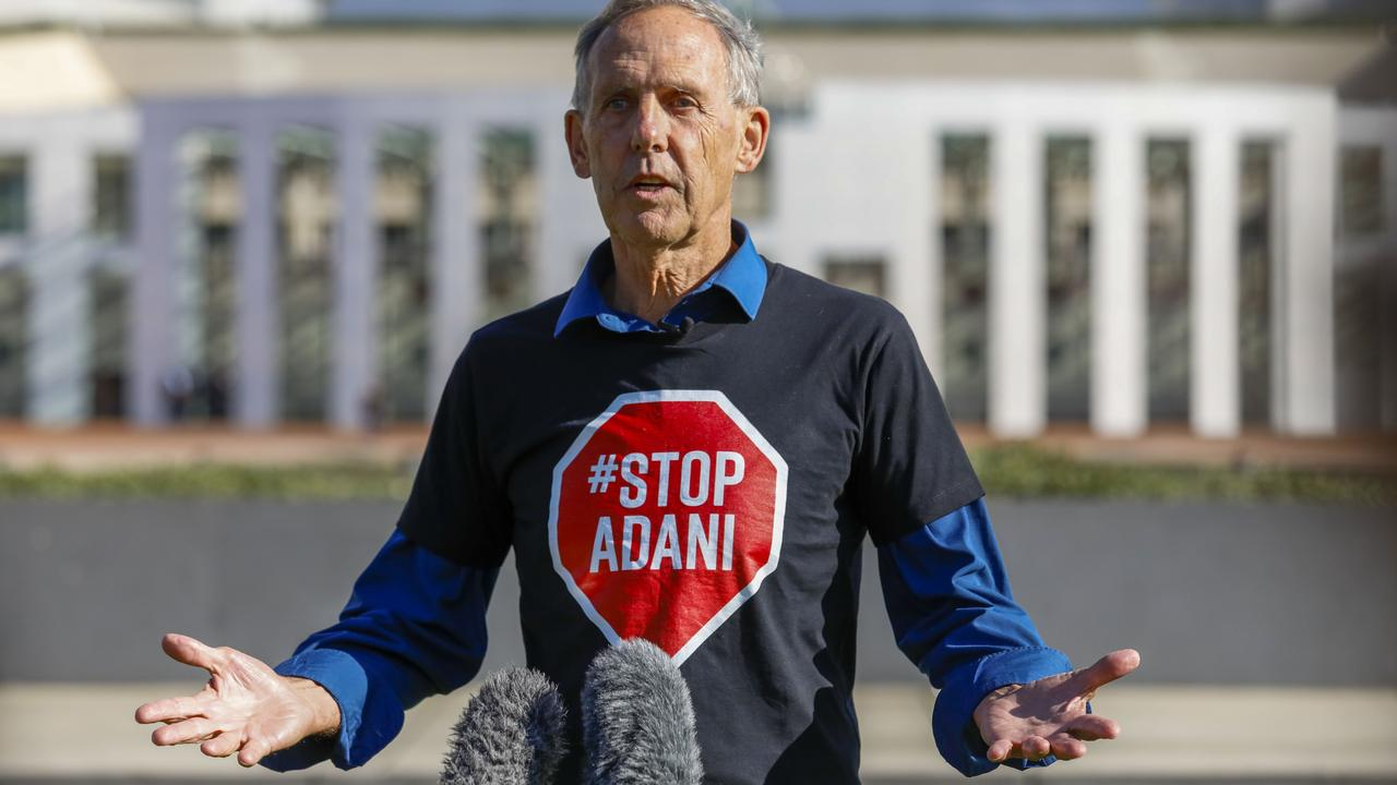 Bob Brown gives a press conference after the 'Stop Adani Convoy' arrived at Parliament House in Canberra. Picture: Sean Davey.