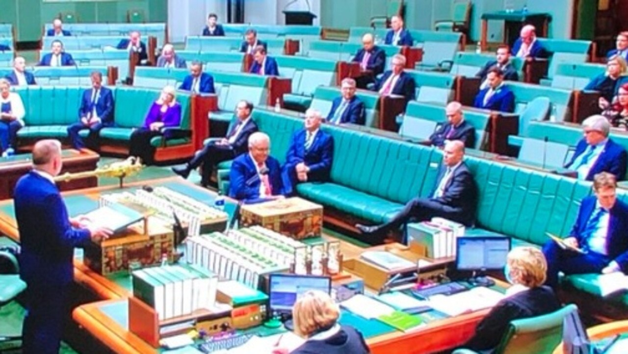 Coalition politicians fail to look at Albo during budget reply. Picture: Twitter/@TroyBramston
