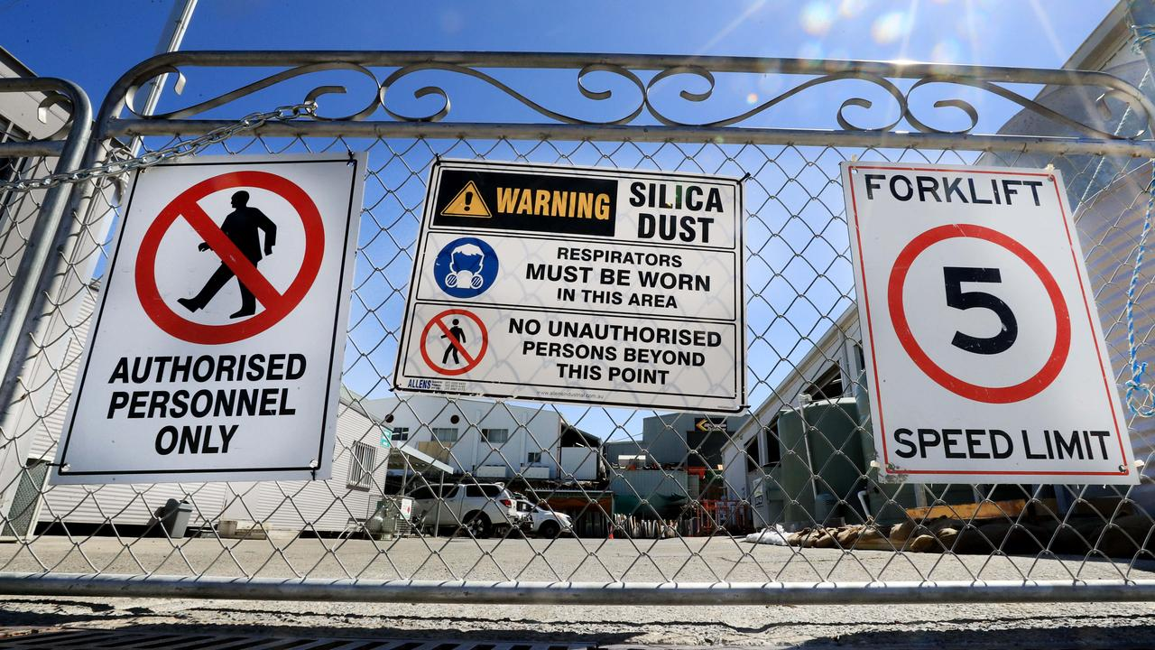 All stone benchtop fabrication businesses must have signage on their gates warning of the dangers of silica dust. Photo: Scott Powick