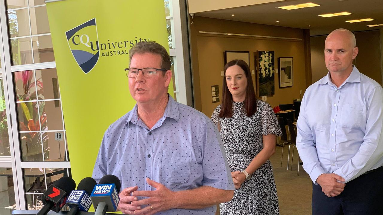 ELECTION PROMISE: Minister for Regional Development and Manufacturing Glenn Butcher (right), Rockhampton MP Barry O'Rourke and Keppel MP Brittany Lauga discuss their support for TAFE in Rockhampton.
