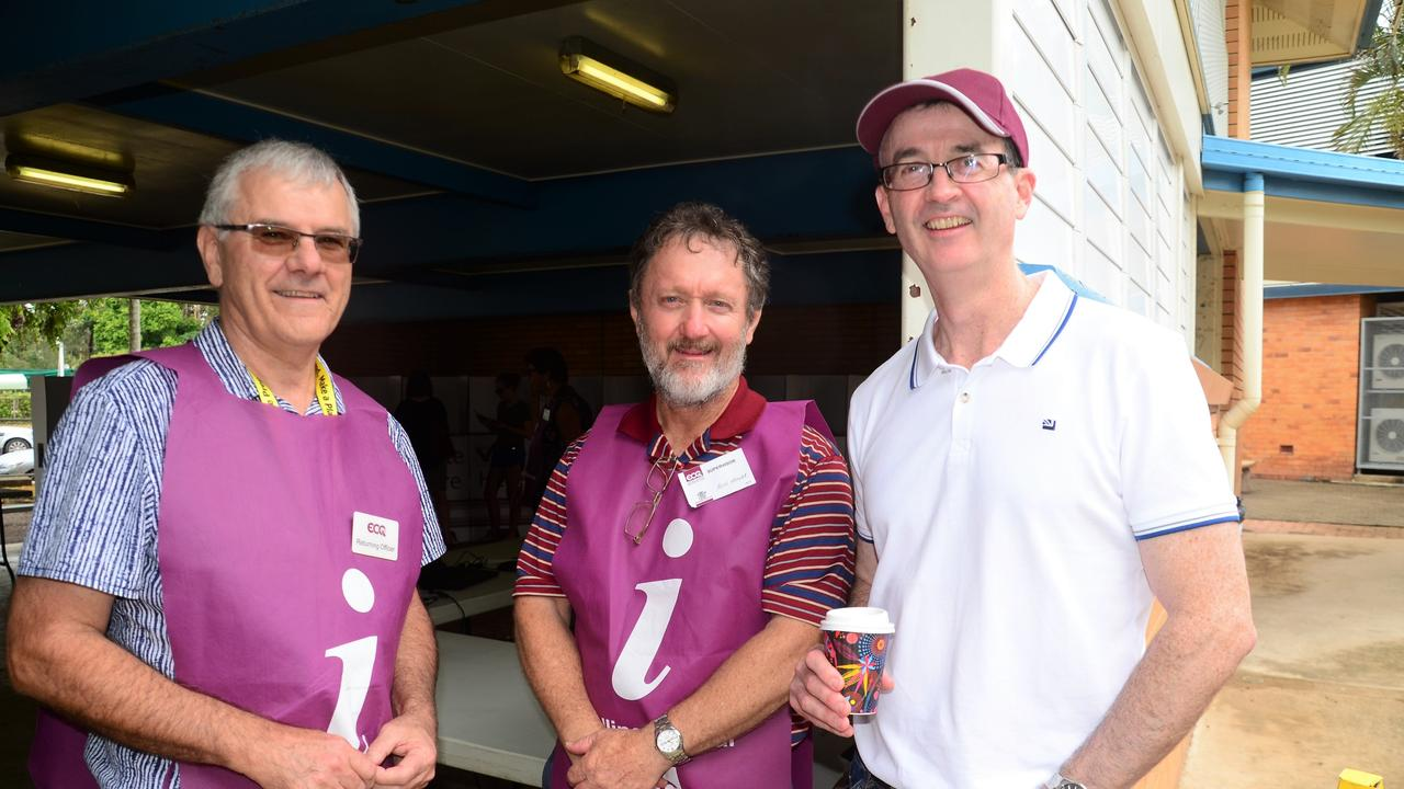 Queensland Electoral Commissioner Pat Vidgen (right) visiting Hinchinbrook Shire by-election polling booth. Picture: CAMERON BATES