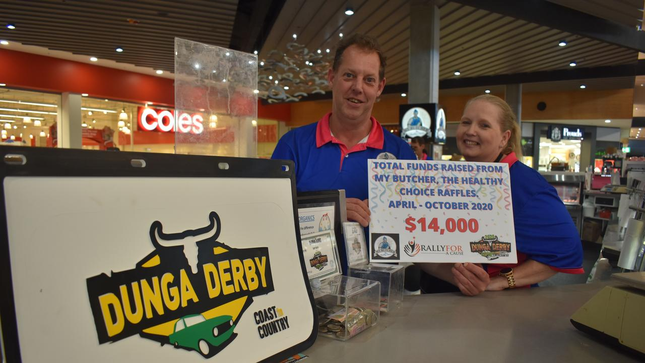 MEATY MONEY: (L) Darren Olsen and Karren Kuss from My Butcher: The Healthy Choice, have been supporting Dunga Derby with meat tray raffles since April. Photo: Stuart Fast