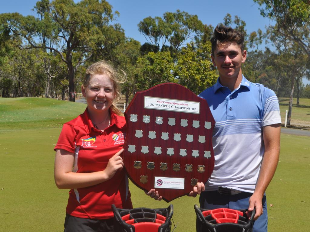 Emily Martin and Brock Olive, winners of the 2020 Central Queensland Junior Golf Open.