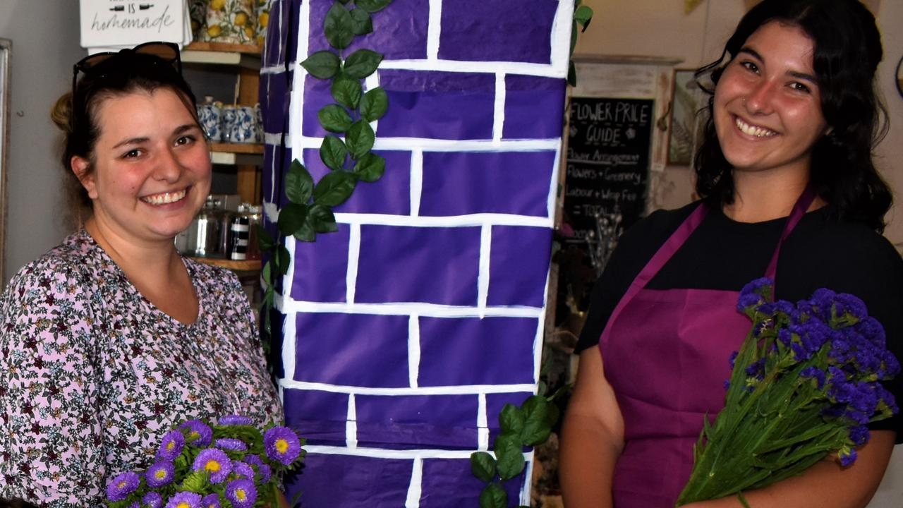SECRET SURPRISE: The staff at Paper Daisy Florist in Prince St remain tight-lipped about the creation they are busy preparing for their shopfront purple this jacaranda season.
