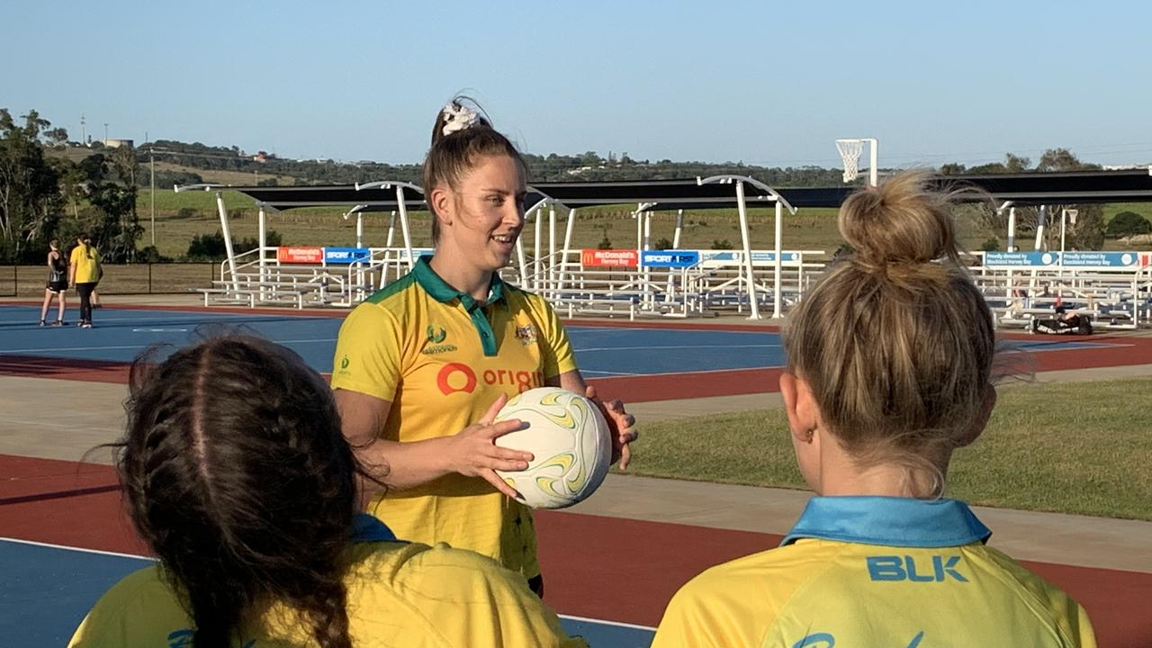 SPECIAL GUEST: Origin Diamonds player Jamie-Lee Price instructs Breakaway players. Photo: Stuart Fast