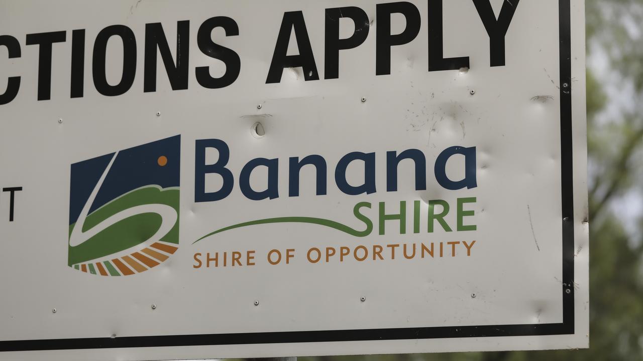 QWeekend - Biloela asylum seeker family story. Banana Shire, shire of opportunity sign. Pic Mark Cranitch.