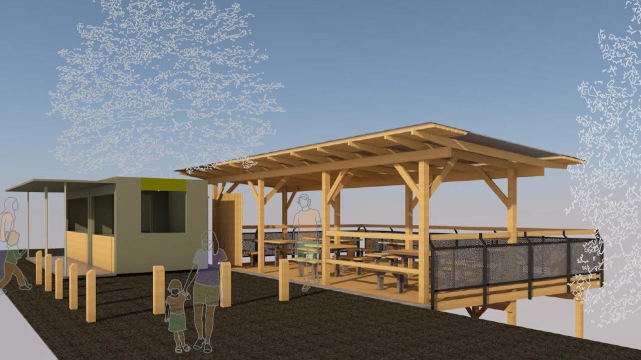 Concept drawings for Nyanggan Gapi Cafe at Sealy Lookout.