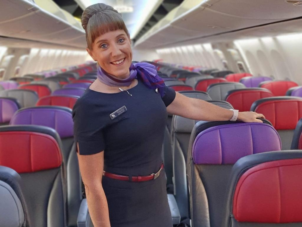 Virgin Australia cabin supervisor Tracey Fitzgerald has made some extraordinary sacrifices to go on working. Picture: Supplied