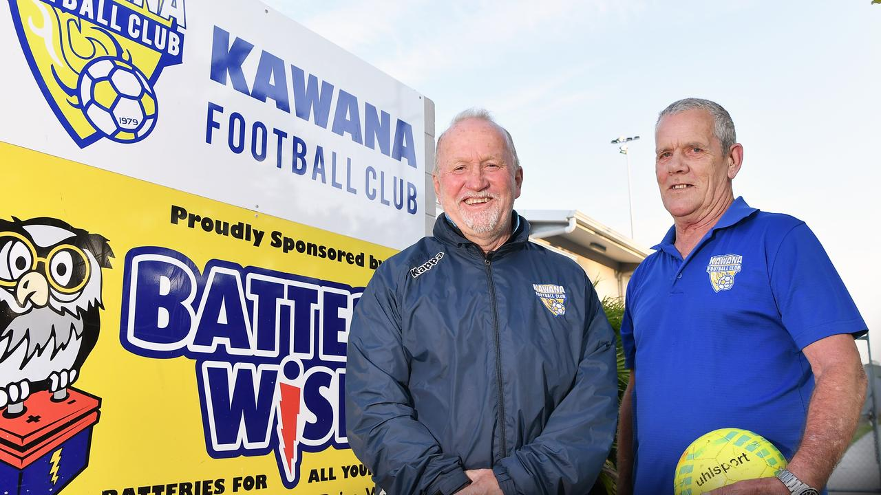 Kawana club stalwarts Les Fleming, left, and Ken Oakes, are smiling after the club secured a $30,000 grant to roll out new community football programs. Picture: Patrick Woods