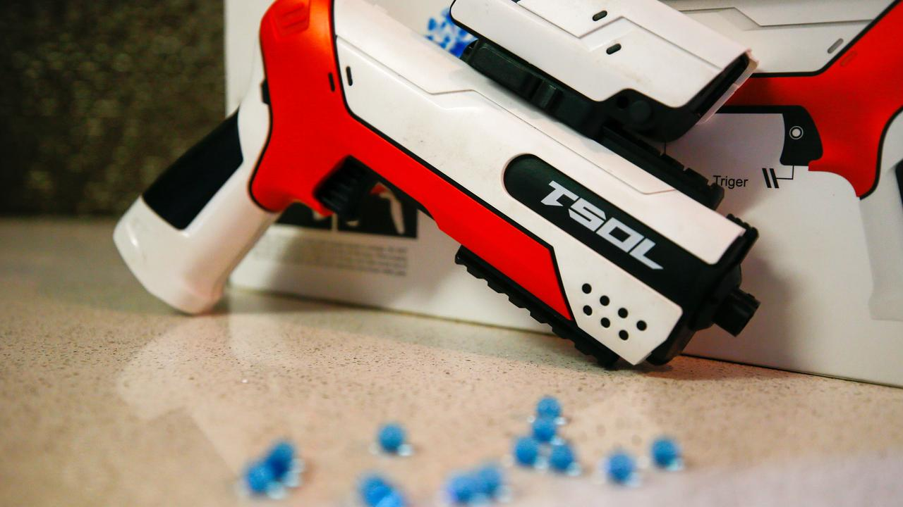Queensland remains the only Australian jurisdiction where gel blasters are not illegal, as South Australia announced owners of gel blasters need to hold a licence as of Thursday. Picture: Partrick Gee