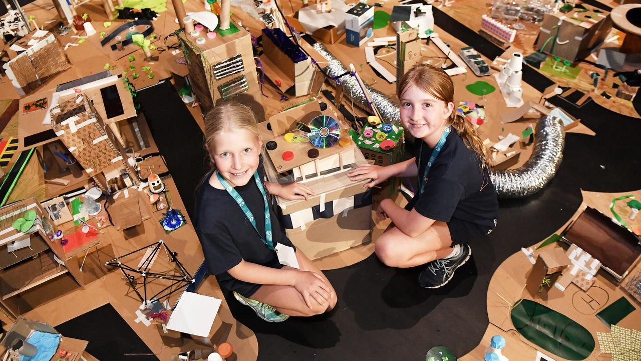 Students at Matthew Flinders Anglican College were tasked with designing a new world-class city from the ground up. Pictured, Year 5 students Sydney Mills and Izzy Megan. Photo: Patrick Woods