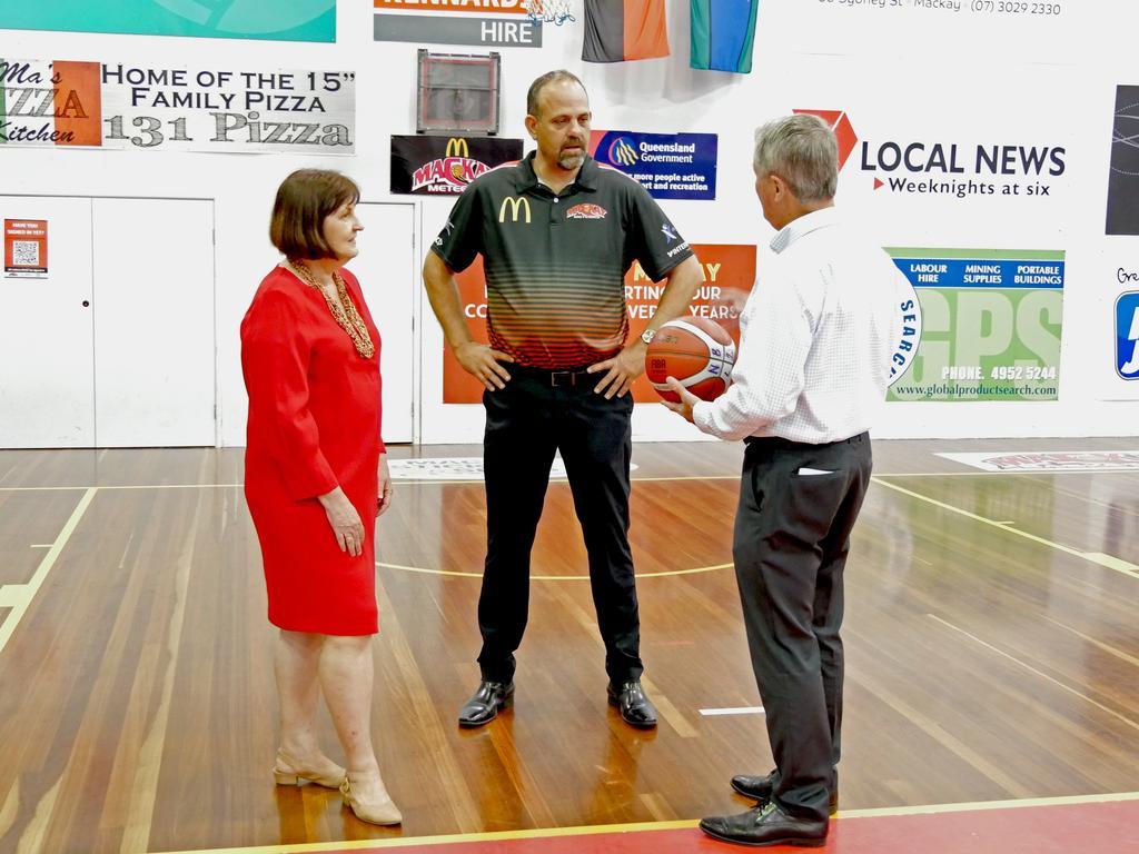 Mackay MP Julieanne Gilbert (left), Mackay Basketball CEO Jason Borg and Mackay Mayor Greg Williamson at the WNBL announcement at Mackay Basketball Stadium. Photo: Lyneale Thrupp