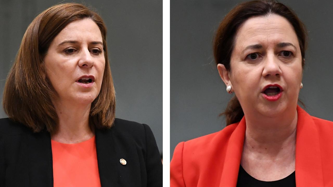 Opposition leader Deb Frecklington (left) and Queensland Premier Annastacia Palaszczuk.