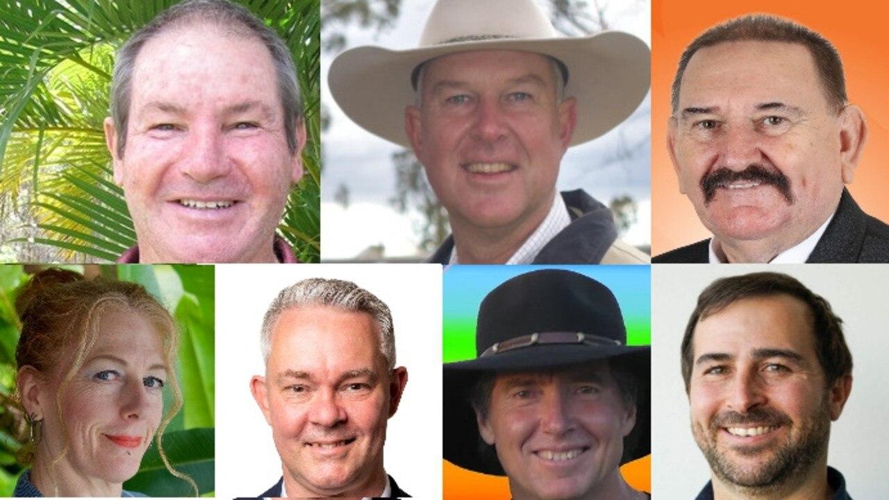 Gympie election candidates - Geoff Williams (ALP), Tony Perrett (LNP), Michael Blaxland (ONP), Lauren Granger-Brown (GRN), Roland Maertens (IND), Tim Jerome (IND), Nicholas Fairbairn (IMOP)