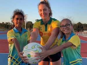 SPECIAL SURPRISE: Aussie netball star joins juniors on court