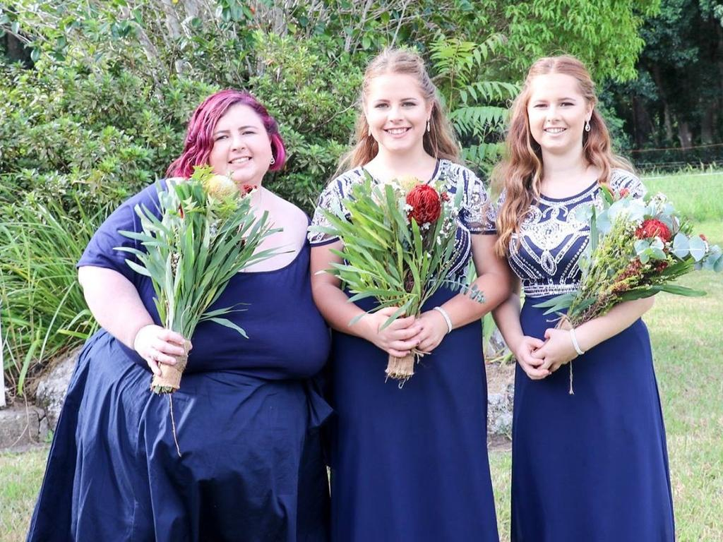 Talya Goding with sisters Mackenzie and Francesca Hudson in 2017. All three girls carry the cancer gene. Talya died last year, aged 28.