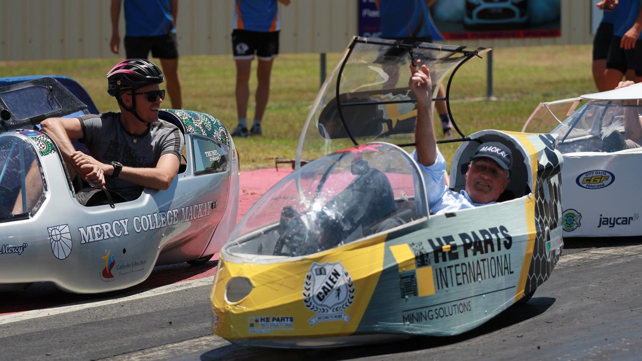 Mackay Regional Council Mayor Greg Williamson testing the human-powered vehicles for the 2020 BHP Whitsunday STEM Challenge. Picture: Contributed
