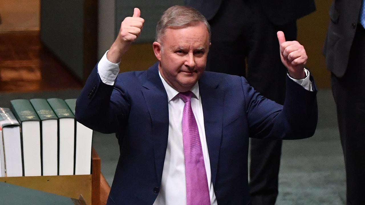 Opposition leader Anthony Albanese reacts after his budget reply speech.