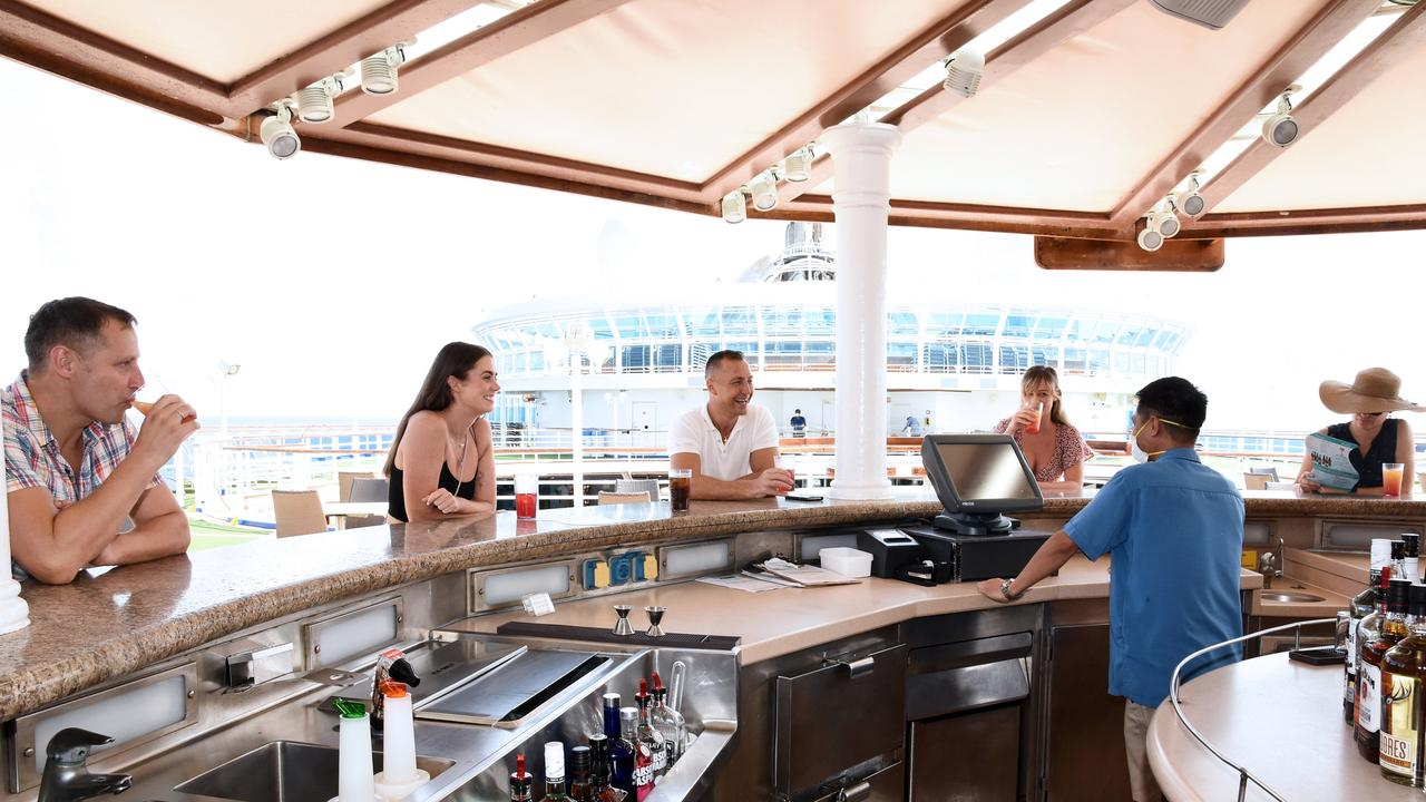 Social distancing practices on board Princess Cruises. Picture: Princess Cruises Health and Safety