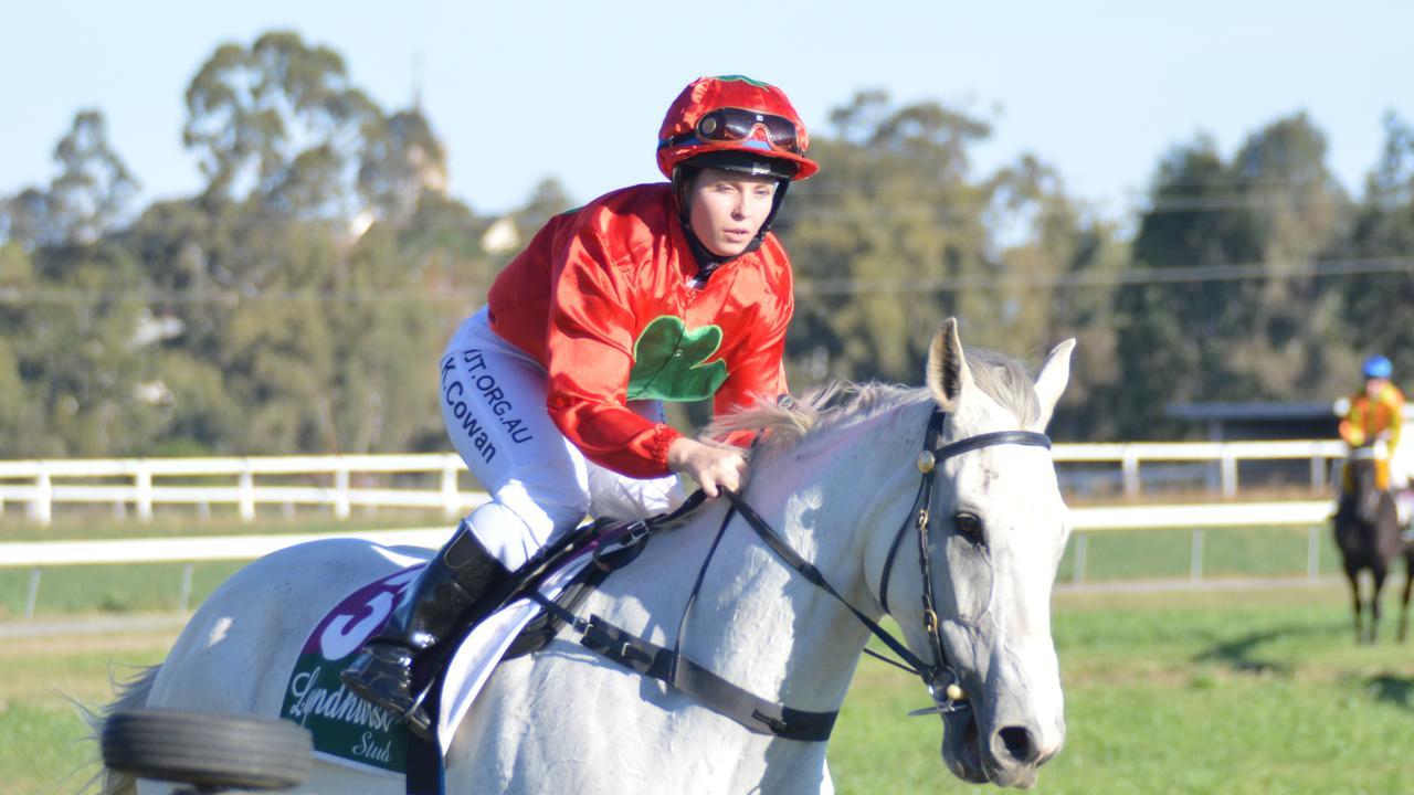 Jockey Kate Cowan races Dalby mare Rosie Posie to victory and the 2020 Warwick Cup.