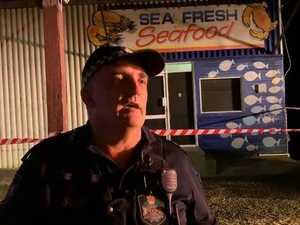 District duty officer Tony McDowall speaks after Mackay CBD building collapse