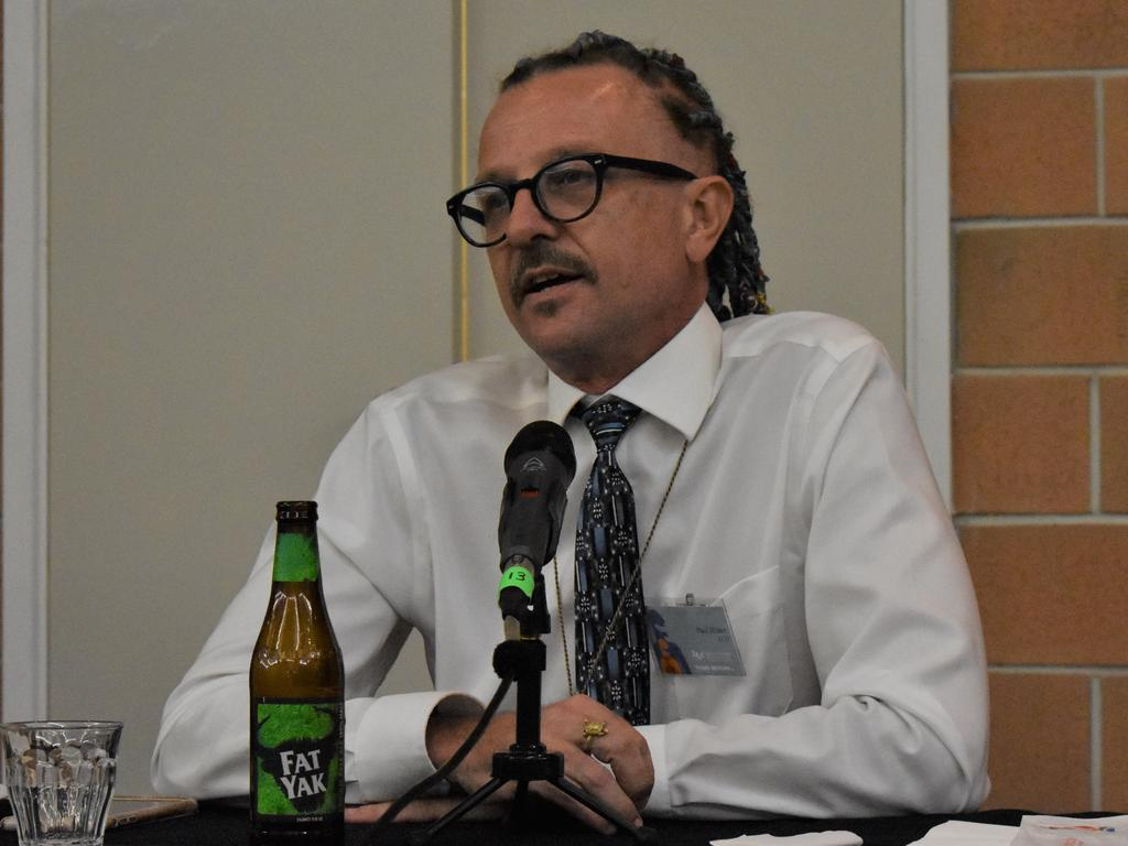 Legalise Cannabis Queensland candidate for Whitsunday Paul Hilder speaking at the Chamber of Commerce debate, October 8. Picture: Heidi Petith