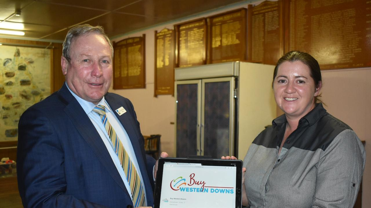 NEW INITIATIVE: Mayor Paul McVeigh and Chinchilla Community Commerce and Industry Inc. Manager Robyn Haig. Pic: Supplied