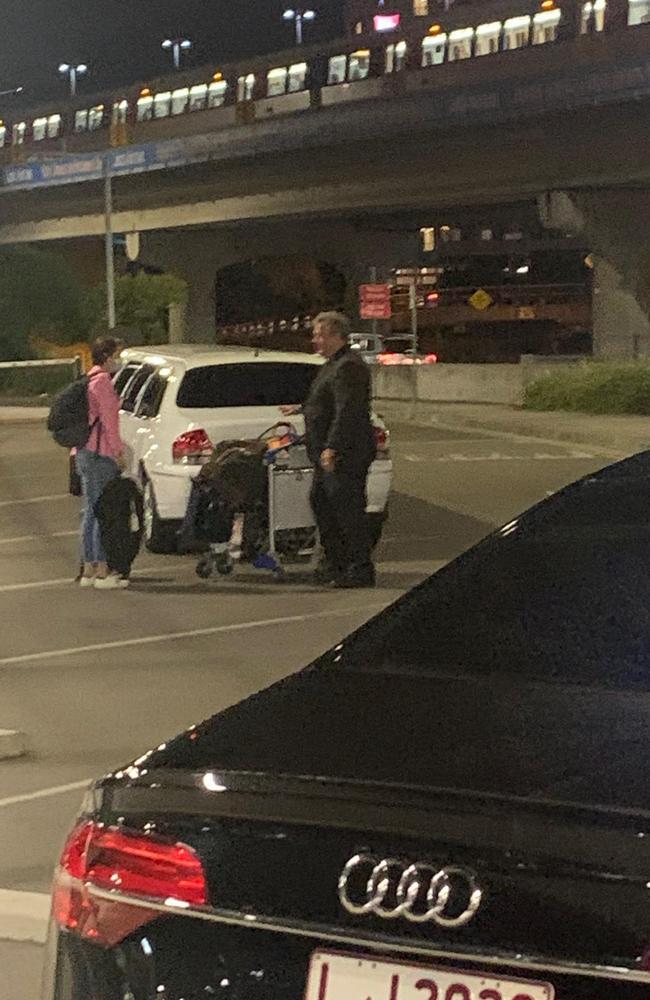 Jayne Hrdlicka arrives at Brisbane Airport to a waiting limo.