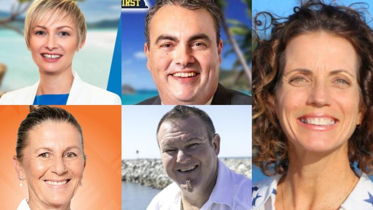 Whitsunday candidates: (Clockwise from top left) Amanda Camm (LNP), Jason Costigan (NQFirst). (Right) Angie Kelly (ALP), Ciaron Paterson (KAP) and Deb Lawson (ONP).