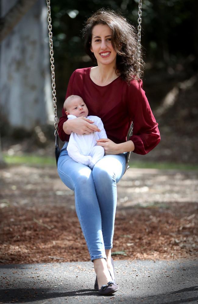 Carmela Allia, 32, with her newborn Alexander. Photo: Jamie Hanson