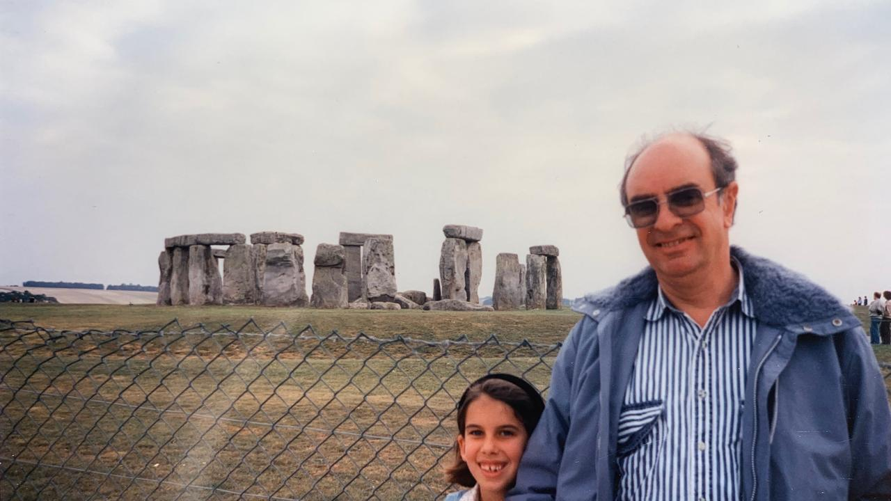 Sarah Holland-Batt and her father Tony at Stonehenge in 1991.