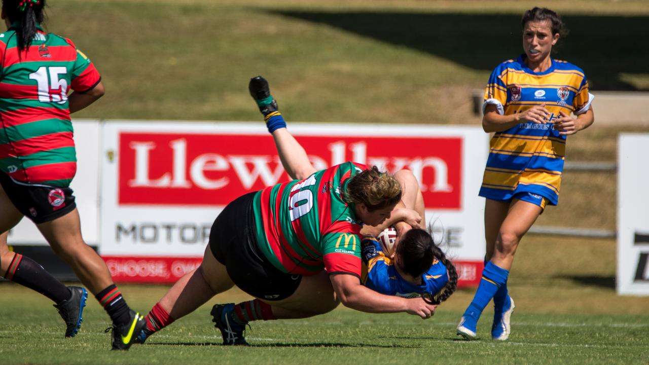 Action from the SEQW Division 2 semi-final between Norths Tigers Ipswich Open and Redlands Parrots at the North Ipswich Reserve. Picture: Bruce Clayton