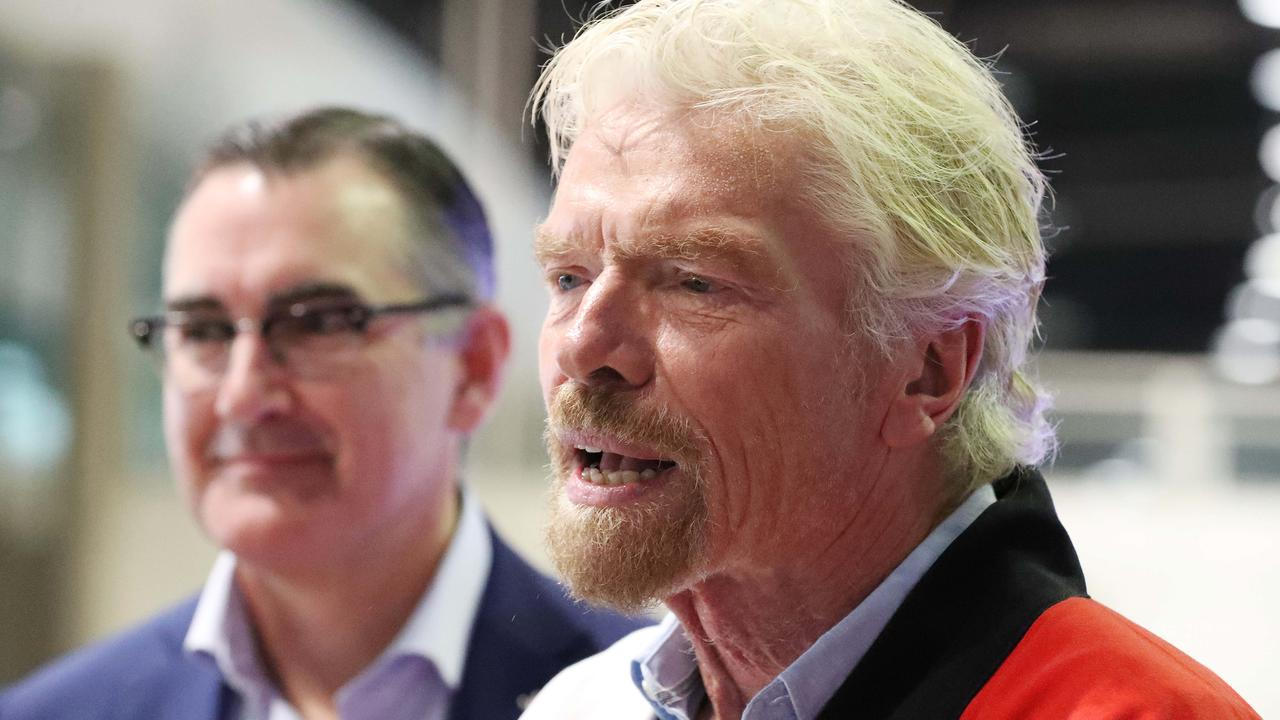 Virgin Australia CEO Paul Scurrah, with Sir Richard Branson in Brisbane. Picture: Liam Kidston.