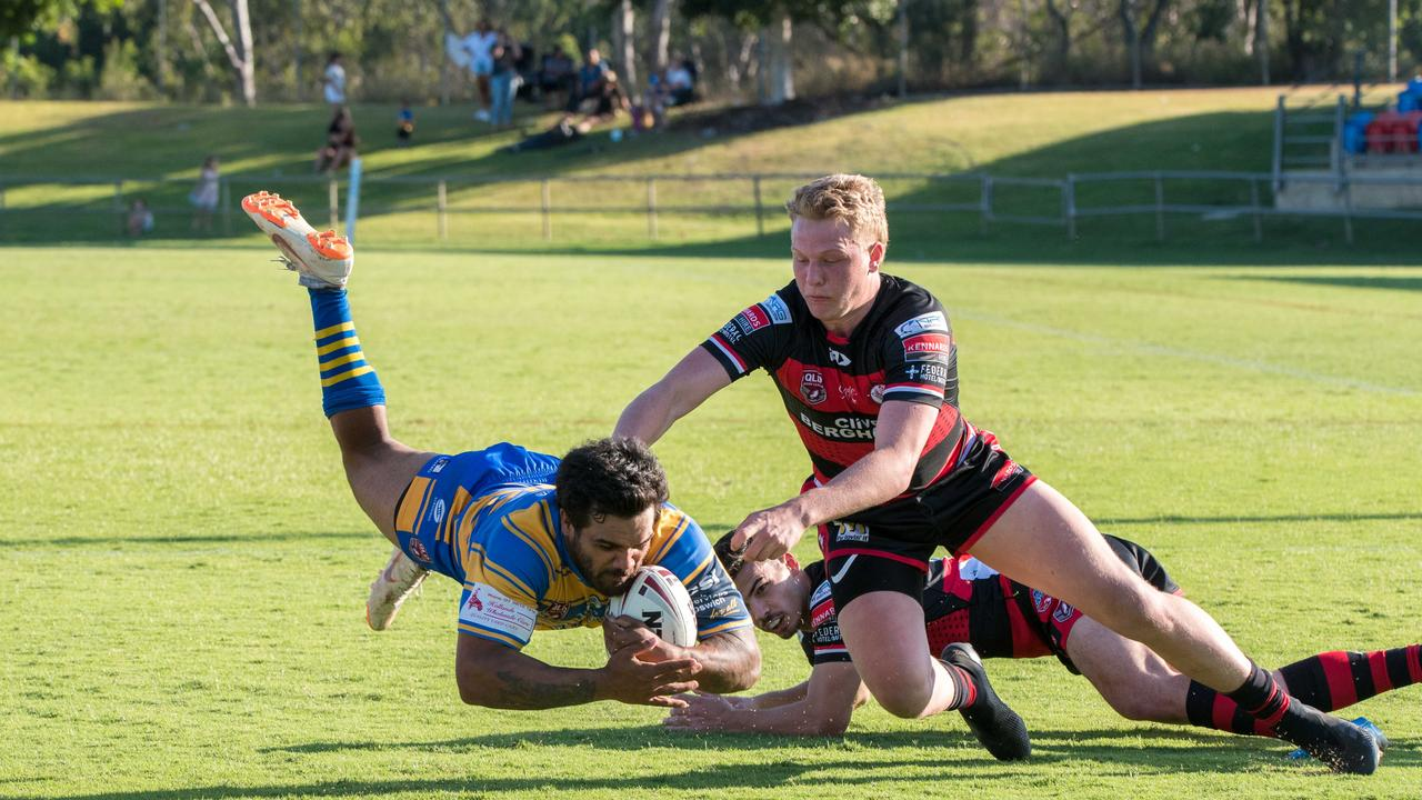 Action from the Volunteers Cup semi-final between Norths Tigers and Toowoomba Valleys at the North Ipswich Reserve. Picture: Bruce Clayton