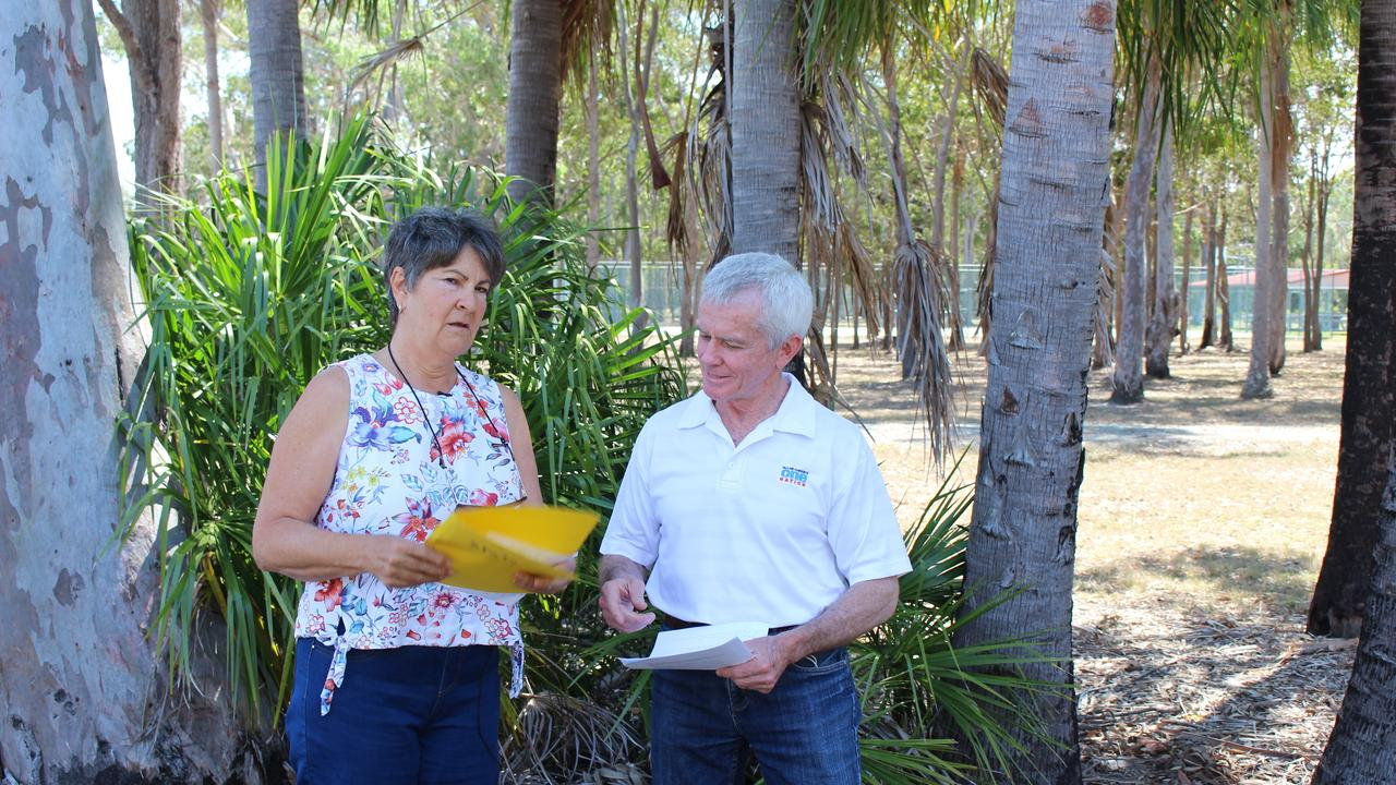 Christine Olsen speaking to One Nation Senator Malcolm Roberts at the Boonooroo Community Hall.