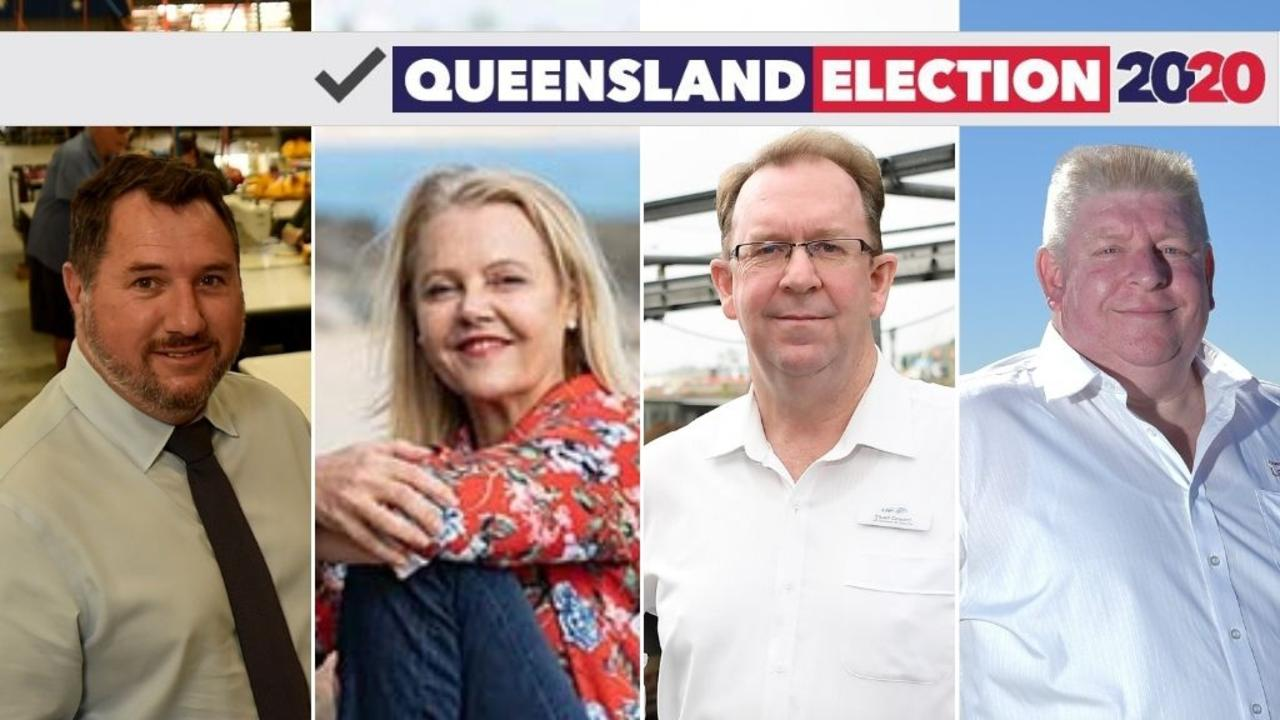 Queensland Election 2020: LNP candidate for Glass House Andrew Powell, Noosa's Independent Sandy Bolton, LNP candidate for Caloundra Stuart Coward and Labor candidate for Noosa Mark Denham.