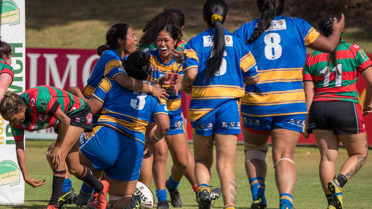 The Norths Ipswich Tigers Open women's rugby league team celebrate a try in their SEQW Division 2 semi-final victory over the Redlands Parrots at the North Ipswich Reserve. Picture: Bruce Clayton