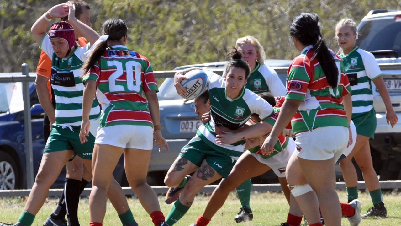 Action from the qualifying women's rugby final between Ipswich Rangers and Redlands at Woodend Park. Pidture: Gary Reid