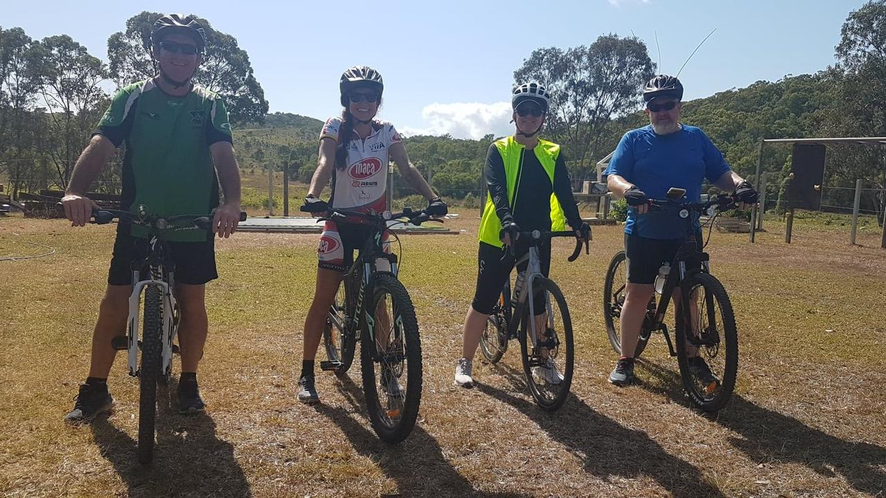 Agnes Water resident Ludmila Souza is riding 200km to help with cancer research. Pictured with Joe Mahony, Ludmila Souza, Fiona Werch and Peter Edwards.