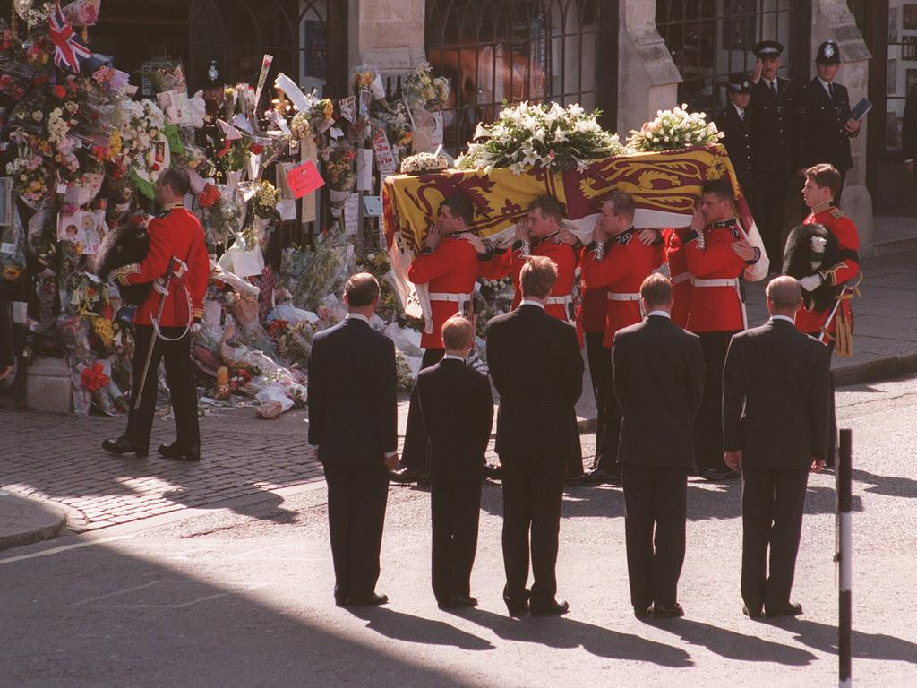 Prince Charles with Prince Harry, Earl Charles Spencer, Prince William and Prince Philip at Diana's funeral service.